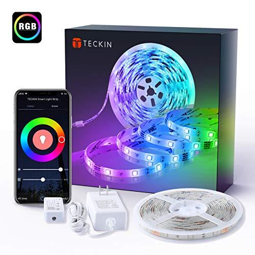 TECKIN Tiras LED RGB Wifi 5M 5050 SMD Tira de Luces Colores Inteligente funciona con Alexa Movil Google Home,Multi-Modos para Navidad,TV,Dormitorio,Fiesta y Decoracion