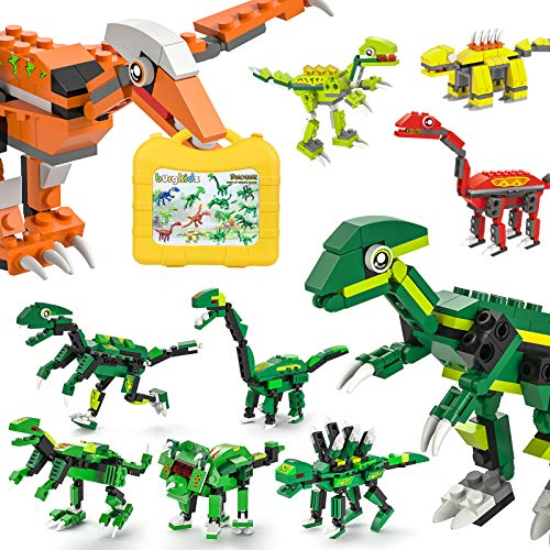 burgkidz Dinosaurios Bloques de Construcción Juguetes, 1415 Piezas de Ladrillos Creativos Clásicos con Maleta para Crear 14 Figuras de Dinosaurios, Juguetes de Construcción para Niños de 4 a 1
