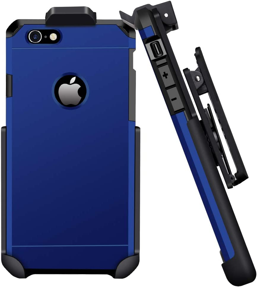 IMPACTSTRONG Compatible for iPhone 6/6s - Belt Clip Case Heavy Duty Dual Layer Protection Cover and Holster Belt Clip Combo (Navy Blue)