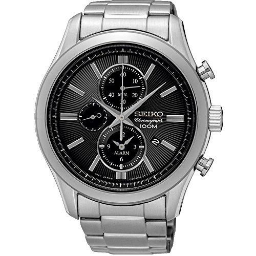 Seiko Herren-Armbanduhr XL Solar Analog Quarz Edelstahl SNE087P1