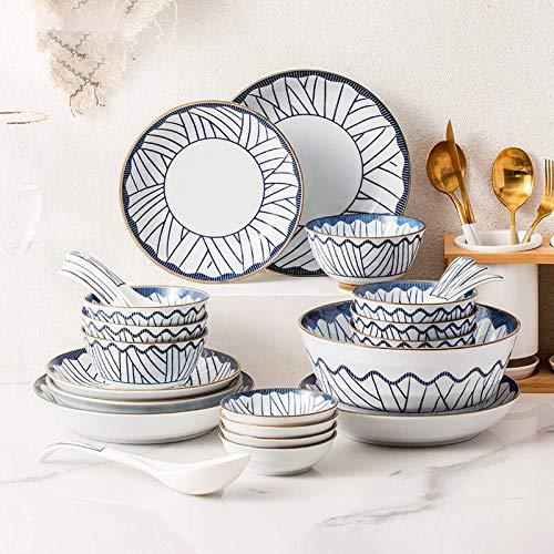 CCAN De vajilla Resistente, vajilla de cerámica, 28 Piezas de vajilla de Esmalte Azul Estilo japonés  Plato de Carne y Plato de Sopa de Cuenco de Cereal de Porcelana para Regalo de inauguración de la
