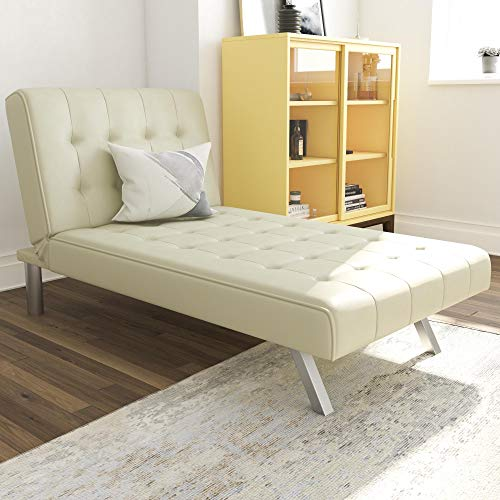 DHP Emily Chaise Lounger With Chrome Legs, Vanilla Faux Leather
