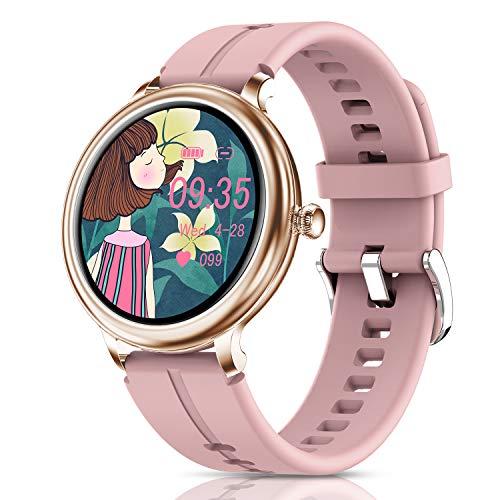 CatShin Smartwatch Damen,Fitness Armbanduhr Tracker Wasserdicht Smart Watch damen,Touchscreen Fitness Uhr für Damen mit Aktivitätstracker Herzfrequenz Schlafmonitor Schrittzähler für iOS Android Handy