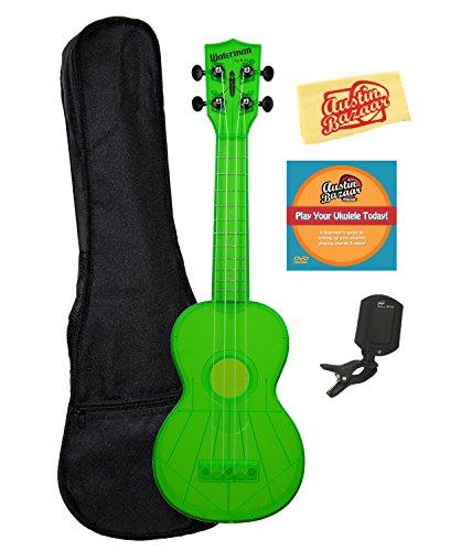 Kala KA-SWF-GN Waterman Soprano Ukulele - Fluorescent Green Gloss Bundle with Gig Bag, Tuner, Austin Bazaar Instructional DVD, and Polishing Cloth