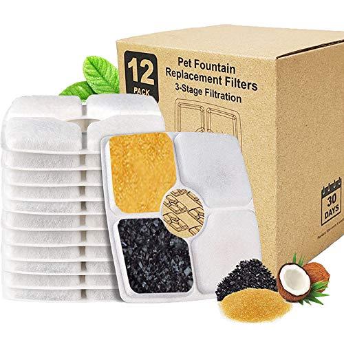Sunwuun 12 Piezas Filtros Fuente Gatos, Cuadrado Filtros de Repuesto de Fuentes de Mascotas con Resina y Carbón Activo