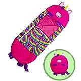 Saco de dormir para niños con diseño de animales de dibujos animados, saco de dormir para niños, de una sola pieza, almohada (unicornio rojo rosado, 140 x 50 x 10 cm)