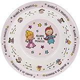 Piatto fondo per bambini in melamina rosa con scritta inglese 'Always be a Princess', 16,5 cm