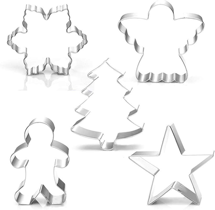 Christmas Holiday Cookie Cutter Set 5 Piece Snowflake Star Christmas Tree Gingerbread Man And Angel