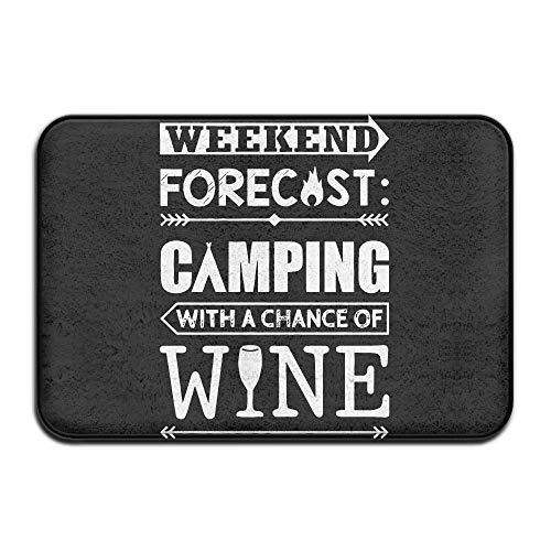 Annays Deur Mat Weekend Voorspelling Camping Met Wijn Anti-slip Vlek Fade Resistant Zachte Woonkamer Tapijt Voor Deur Entree Buiten Deurmat 15.7x23.6inches,40x60cm