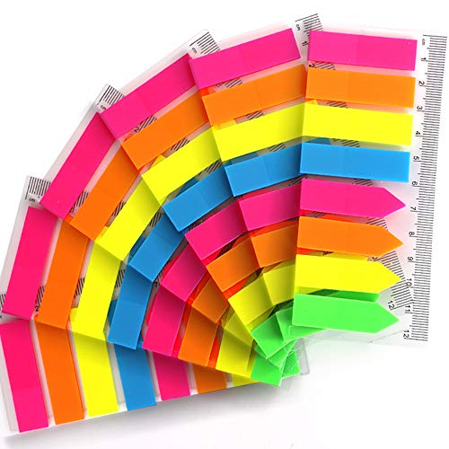 960 Pieces Neon Page Markers FANDAMEI 6 Sets Translucent Page Flags Fluorescent Index Tabs Sticky Notes Tabs with 12 cm Measurement for Page Marker