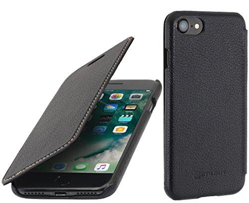 StilGut Leder-Hülle kompatibel mit iPhone 8/iPhone 7 Book Type, Schwarz