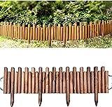 Garden Fence 1.2m Registro de tronco borde fijo Piquete Cerca del panel Edge Garden Patio Patio Al aire libre Césped Borde, Palisade Forza de madera resistente a la corrosión Cerca para camas de flore