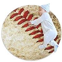 エリアラグ軽量 野球のクローズアップ フロアマットソフトカーペット直径39.4インチホームリビングダイニングルームベッドルーム
