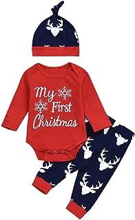 """Allence My First Christmas """" Weihnachten Neugeboren Rentier Strampler Mädchen Jungen Outfits 3 Stück Spielanzug  Hose  Hut Set Niedlich Party Anzüge Kinder Outfits"""