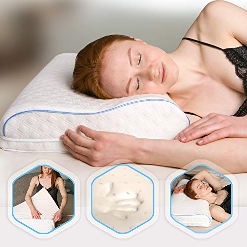 Aeris Adjustable Memory Foam Contour Pillow For Neck Pain-Ergonomic Tempurpedic Neck Pillow For Sleeping-Orthopedic Neck Support For Best Neck Shoulder Pain Relief-Machine Washable Cover-Side Sleepers