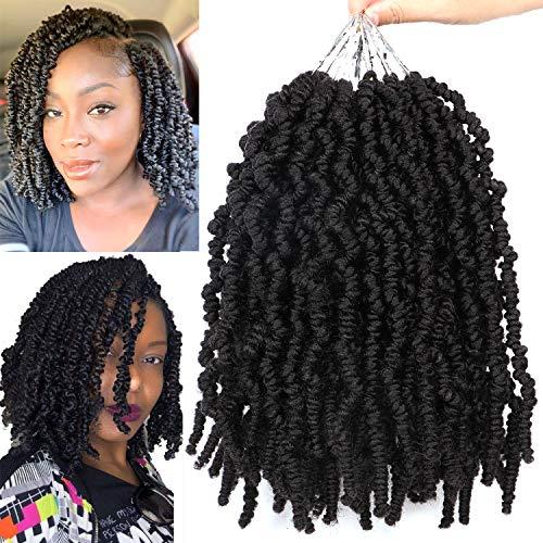 7 Packs 10 Inch Short Pretwisted Passion Twist Crochet Hair Crochet Spring Twist Hair Pretwisted Short Curly Passion Twist Hair Pretwisted Bomb Twist Crochet Hair (1B#)