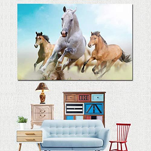 SADHAF Animal Pentium Horse Landschap Schilderij op doek en borden, moderne decoratie voor thuis 70X100cm (sin marco) A6