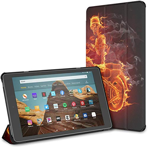 Hülle für Feuer Skelett Reiten Motorrad Feuer Hd 10 Tablet (9./7. Generation,...