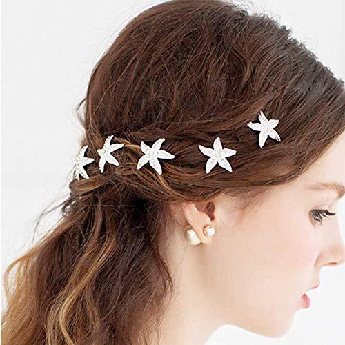 Wohlstand10 pinzas para el cabello en forma de U,broches para el pelo de estrella de mar,para boda, horquillas de pelo de novia, accesorios para el pelo de novia, boda temática de playa, fiesta