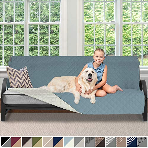 Sofa Shield Original Patent Pending Reversible Futon Protector for Seat Width up to 70 Inch, Furniture Slipcover, 2 Inch Strap, Daybed Couch Slip Cover Throw for Pets, Kids, Cats, Futon, Seafoam Cream