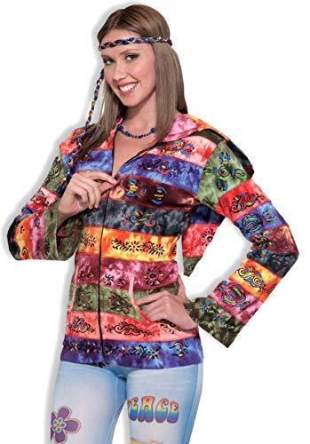 Forum Novelties 60's 70's Hippie Hooded Rainbow Costume Jacket Adult Standard