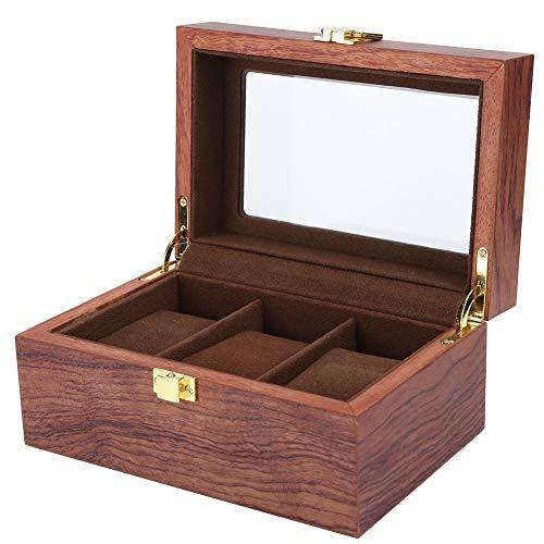 Hölzerne 3 Gitter Uhrenbox, Uhrenkoffer, Uhren Aufbewahrungsbox Uhren Aufbewahrung Uhrentruhe Uhrenschatulle Uhren Displaybox Transparentes Fenster Rutschfeste Uhren Aufbewahrungsbox