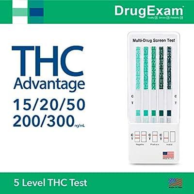 5 Pack - DrugExam THC Advantage Made in USA Multi Level Marijuana Home Urine Test Kit. Highly Sensitive THC 5 Level Drug Test Kit. Detects at 15 ng/mL, 20 ng/mL, 50 ng/mL, 200 ng/mL and 300 ng/mL (5) by DrugExam