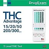 5 Pack - DrugExam THC Advantage Made in USA Multi Level Marijuana Home Urine Test Kit. Highly Sensitive THC 5 Level Drug Test Kit. Detects at 15 ng/mL, 20 ng/mL, 50 ng/mL, 200 ng/mL and 300 ng/mL (5)