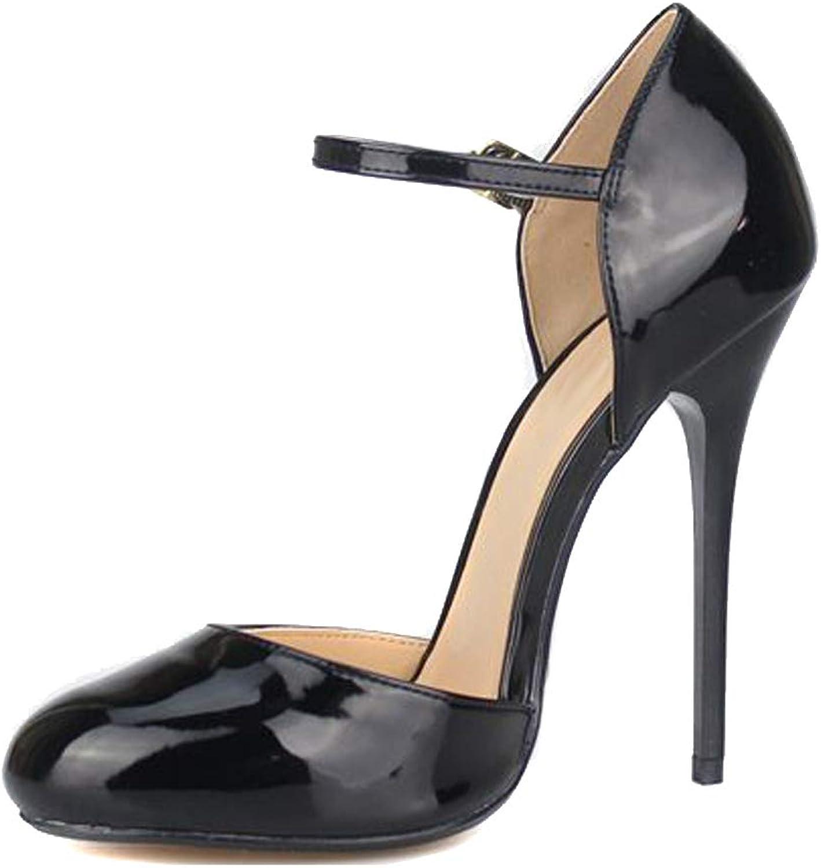 MAIERNISI JESSI Unisex Men's Women's Round Toe Ankle Buckle D-Orsay Stiletto High Heel Pumps