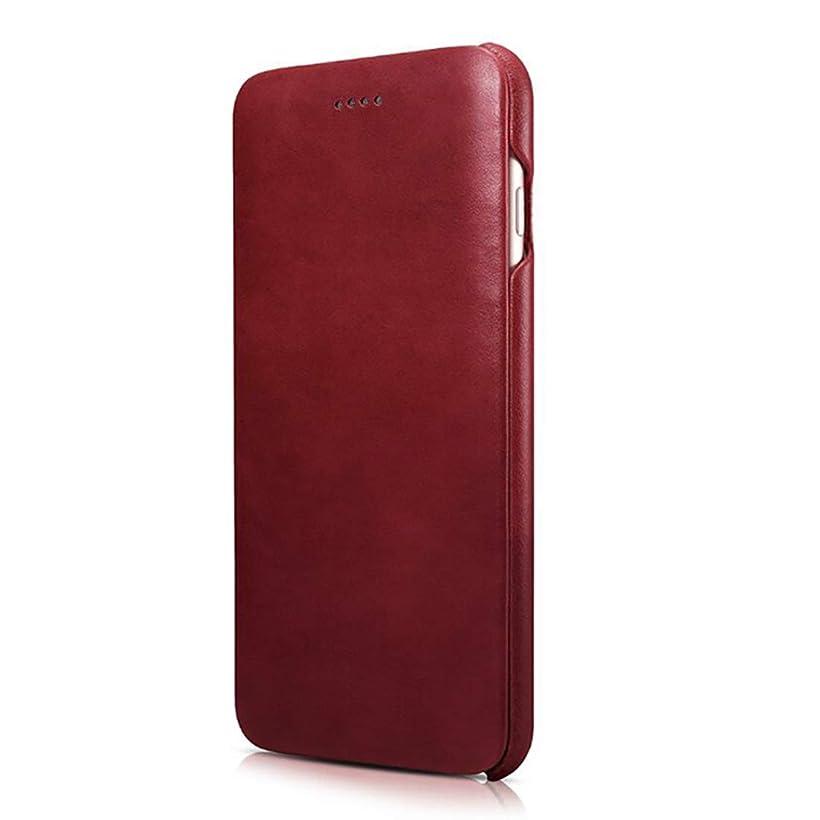 同僚威する株式会社ICARER iphone6plusケース/6plusカバー 手帳型 本革 レザー 横開き 牛革 カードポケット 財布型 スロット 3色 (レッド)