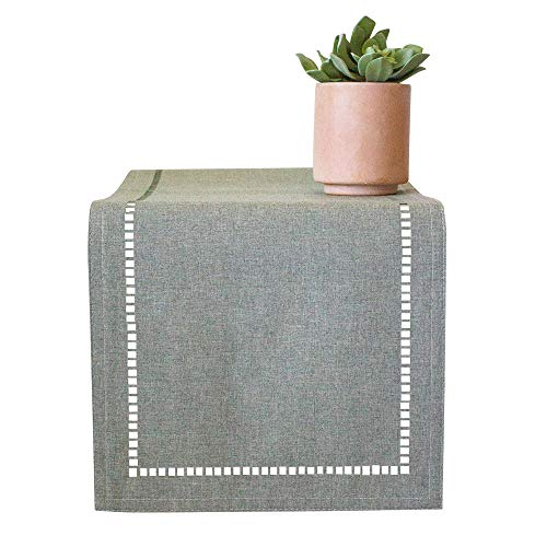 Mulberry Luxe Table Runner and Matching Placemats for Dining Table | Table Runners 72 inch, Placemats Set of 4| Small Table Runner, Hemstitched Detail | Dining Table Runner, Gray Placemats
