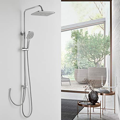 Duschset ohne Armatur, BONADE Regendusche Duschsäule ohne Wasserhahn inkl. 9 zoll Kopfbrause, 3 Funktionen Handbrause Verstellbare Duschstange, Duscharmatur mit Umstellung für Bad Dusche
