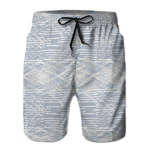 17 Pantalones Cortos de Playa de Secado rápido para Vacaciones de Verano con Estampado 3D para Hombres, Textura de Lino francés Gris XXL