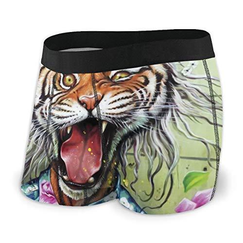LAOLUCKY Fashion Cool Tiger Tropische Blumen Cartoon Comic Herren Unterwäsche Boxershorts für Jungen Jugend Polyester Spandex Komfort Gr. S, Schwarz