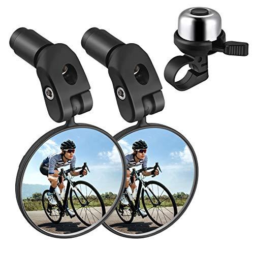 Zacro Espejo de bicicleta + campana para bicicleta, ajustable 360°, espejo retrovisor para bicicletas de montaña de carreras (2 unidades), con timbre de bicicleta (plata) para adultos y niños