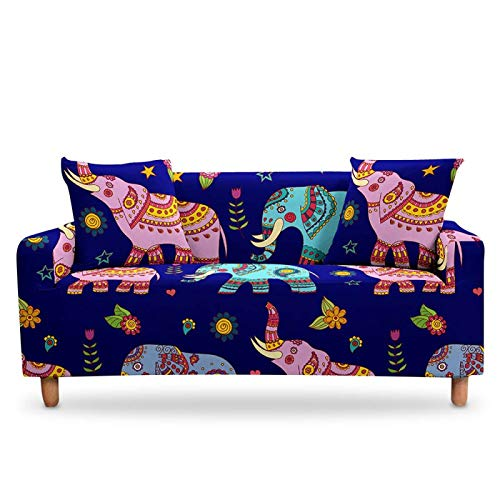 LucklyingBao Funda De Sofá 3D Abstracto Africano Rosa Elefante Elástico Slipcover Cubierta,1/2/3/4 Seater Couch Cover Stretch Stretch L Shaped Armchair Cover For Living Room,3 Plazas (190,230Cm)