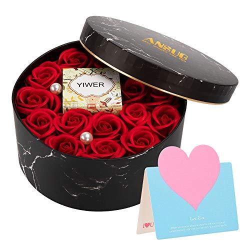 ANSUG Boîte Ronde avec Fleur de Rose Artificielle et Bougie parfumée Naturelle, Faux Cadeau de Fleurs Femmes pour la Saint-Valentin, journée de la Femme, Enseignants, Mariage, décoration de la Maison