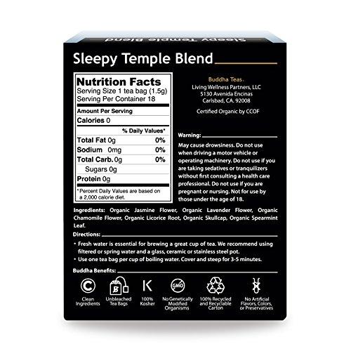 Organic Sleepy Temple Blend, 18 Bleach-Free Tea Bags – Organic Caffeine-Free Tea is a Great Source of Vitamins, Minerals, and Antioxidants, Supports Healthy Sleep, No GMOs