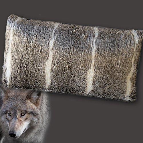 Mars & More Web-Pelz Kissen Wolfsfell, ca. 50 x 30 cm | MM-YMHKWF