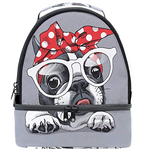 Naanle Cute Cartoon Animal Dog French Bulldog Double Decker Insulated Lunch Box Bag Waterproof Leakproof Cooler Thermal Tote Bag Large for Men Women Youth