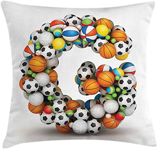 Funda de cojín con diseño de letra G, diseño atlético, para jóvenes y niñas, fuente de actividad para aficionados al deporte, funda de almohada decorativa cuadrada, 18 x 45,7 cm, multicolor