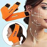 Cinturón adelgazante de estiramiento facial Cinturón elevador de rostro Vendaje Correa adelgazante facial Reductor de mentón doble Cinturón de pérdida de peso facial, elimina la flacidez (naranja)