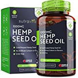 Hemp Oil 1000mg Supplement - 6 Months Supply - New Enriched Formula - 180 Softgel Capsules - Pure High Concentration Cold Pressed Hemp Oil - Rich Source of Omega 3 & 6 - Made in The UK by Nutravita