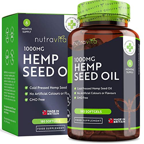 Hemp Oil 1000mg Supplement - 6 Months Supply - New Enriched Formula - 180 Softgel Capsules - Pure High Concentration Cold Pressed Hemp Oil - Made in The UK by Nutravita