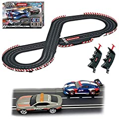 Fast-paced slot car racing action with 1:32 scale cars racing on a track measuring over 17-ft. and reaching scale speeds of 370-mph Carrera Evolution analog slot car systems are designed for both beginners and the hobbyist who is ready for larger sca...