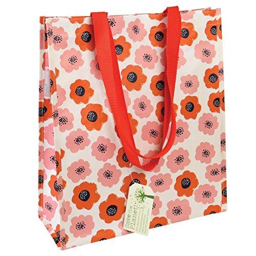 Einkaufstaschen, wiederverwendbar, umweltfreundlich, in verschiedenen Blumendesigns erhältlich poppy