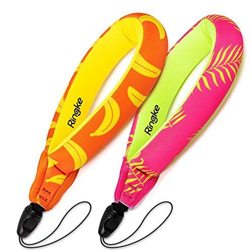 Ringke Schwimmende Handschlaufe [2 Stück] Allgemein wasserdichte Floating Strap für Kamera, Handy Usw.- Palm Leaves + Banana