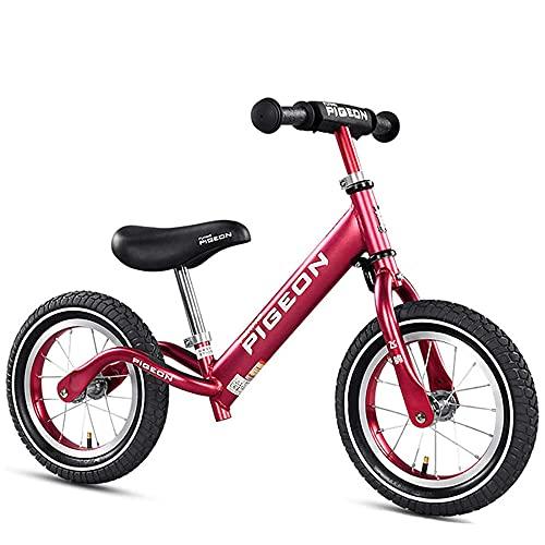 XGYUII Bicicleta de equilibrio para niños de 2 a 6 años de edad para entrenamiento de niños de 12 pulgadas sin pedal deslizante Walker Baby Balance Bike Vino Rojo