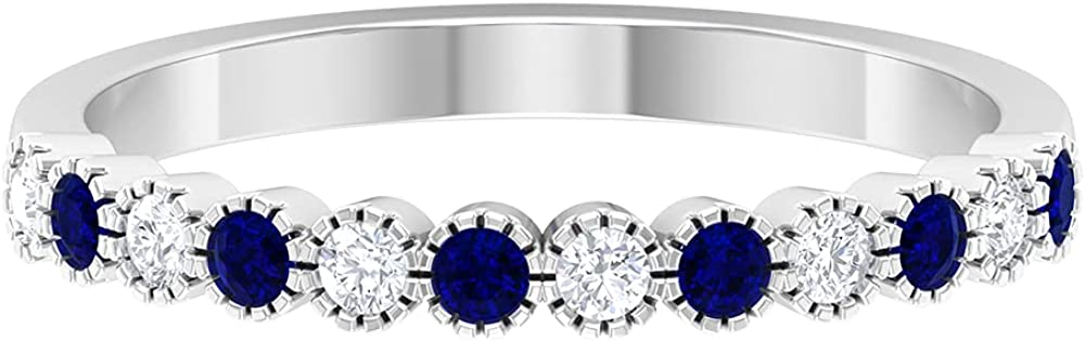 1/4 CT Created Blue Sapphire and Diamond Band Ring,14K White Gold,Diamond,Size:US 3.00