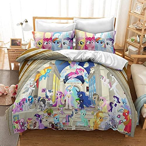 My Little Pony Tales - Juego de funda de edredón para cama infantil (3,155 x 220 cm), diseño de cuentos en 3D HD